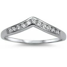 Sterling Silver Ring Sizes 4-10 Cubic Zirconia Fashion Wedding Band .925