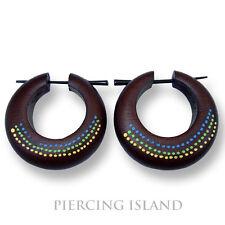 Capri Ohrringe 3cm Creolen Holz Kreolen Wood Earrings Piercing Design ER154