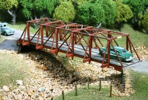 "HO Scale - Wood Truss Auto Bridge ""LASER CUT WOOD KIT ""AME-727"