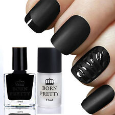 BORN PRETTY 10ml Schwarz Farblack Nagellack & 15ML Matt Überlack Top Coat