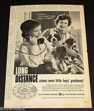 TRANS CANADA TELEPHONE SYSTEM 1961 MAGAZINE PRINT AD LONG DISTANCE BOY PUPPIES