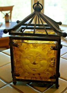 VTG CAST IRON & HEAVY ART GLASS SUN HANGING TEALIGHT VOTIVE GARDEN CANDLE HOLDER