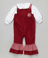 Girls red burgundy overalls outfit 3T 4T NWT white dress shirt Christmas ruffles