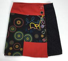 Gonna lana mini gonna invernale 42 rosso nero skirt studs usato vintage bottoni