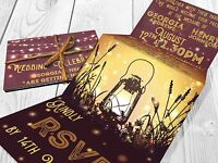 Personalised HANDMADE Lantern Wedding Day Invites Evening Invitations + Envelope