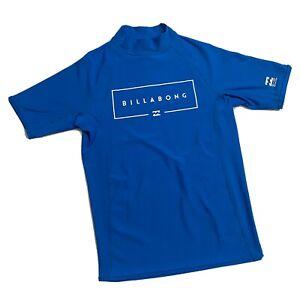 Billabong Blue Performance Fit Surf Shirt UPF 50 Rash Guard Boys Size 14 - VGUC