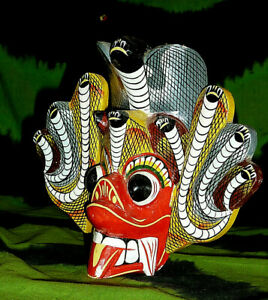 "6"" ehtnic mask Indonesian wall plaque wooden cobra snake head dragon face art"