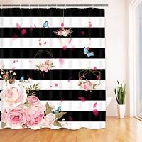 Shower Curtains Flower Printed Bath Curtain With Hooks Waterproof Bathroom Decor