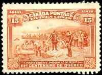 Canada #102 used F-VF 1908 Quebec Tercentenary 15c orange Champlain's Departure