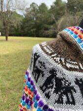 Peruvian Llama Hoodie Sweater Top M Marled Brown Colorful Knit Dots Hand Pocket
