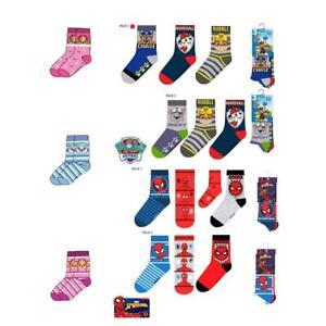 Girls Socks Paw Patrol Spiderman 3 Pairs Boys Sock Pink UK 12-2 / EU 31-34 / US