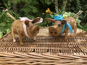 2 Bamboo Root Wooden Pigs A Pair Of Baby Piglets Indoor or Out. Varnished.