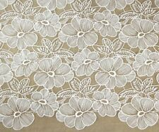 CSF6059 Large White Flower Patterned Embroidery Lace Fabric 125cm Wide per YARD