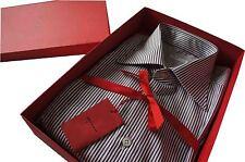 "Kiton Formal Burgundy Stripe SZ: 42 Collar 16.5"" BNWB"