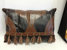 Frontgate Griffith Indoor Leather Sofa Chair Throw Pillow Oblong 21x30 Tassels 1