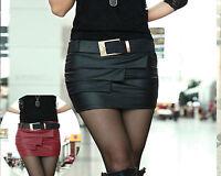 Edel Damen Leder Look Mini Rock schwarz rot sexy Business Minirock XS S 34 36 38