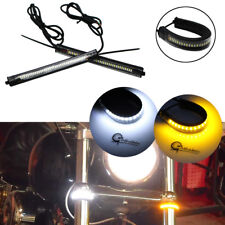 2x Switchback W/A LED Fork Turn Signal Daytime DRL Strip Lights For Motorcycle