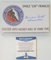 EMILE FRANCIS SIGNED BECKETT BAS COA AUTOGRAPHED NHL HOCKEY HOF NEW YORK RANGERS