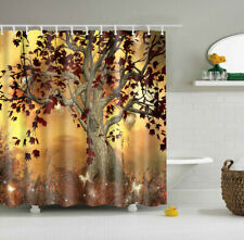 Waterproof Shower Curtain Polyester Fabric Bathroom Decor Maple Leaf Tree Design