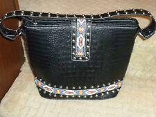 New Blazin Roxx Black Faux Croc Leather Handbag Studded Beadwork Western