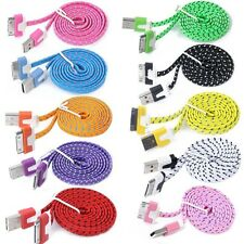 CARGADOR CABLE USB para iPhone 4 4S 3G iPad iPod y/o Coche Reforzada NYLON