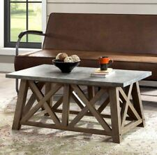 Modern Farmhouse Coffee Table Cocktail Rustic Frame Faux Concrete Top Brown Wood