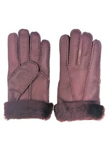 Women's Genuine Sheepskin Burgundy Warm Leather Shearling Fur Gloves