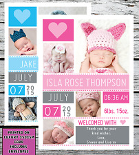10 Personalised New Baby Photo Thank You Cards Boy Girl Birth Announcement