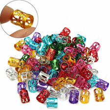 50pcs Gold 8mm Dreadlock Beads Adjustable Hair Braid Rings Clips Cuff Tube