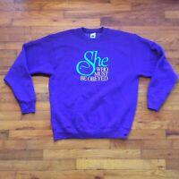 Vtg 90s Rosanne She Who Must Be Obeyed Sweatshirt Crewneck Size XL Purple
