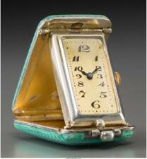 A Swiss Art Deco Silver And Guilloche Enameled Travel Clock Marks: . Lot 66415