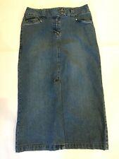 b87090c57d Womens Faded Glory Blue Stretch Denim Jean Maxi Skirt Long Modest Front  Slit 10