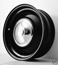 "15"" x 6"" BLACK steel WHEELS HOTROD CHEV FORD HQ 32 CUSTOM SMOOTHIES MOON CAP V8"