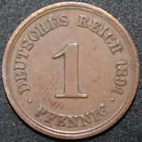 1891 A | Germany Empire 1 Pfennig | Copper | Coins | KM Coins