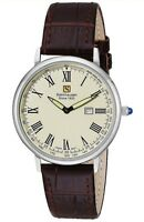 Steinhausen Men's Dunn Analog Thin Stainless Steel Watch with Brown Leather Band