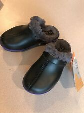 Nee Crocs Little Girls Black Cheerful Christy Fuzzy Clog in Size 11M Free Ship