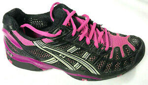 ASICS E150N Damen Gel Resolution 3 Schwarz Lila Athletic Laufschuhe Sz 8