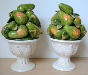 Decorative Porcelain Pears in a White Vase - Set of 2