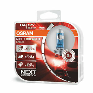 OSRAM H4 Night Breaker LASER NEXT GENERATION 150% 64193NL-HCB Halogen Light Bulb
