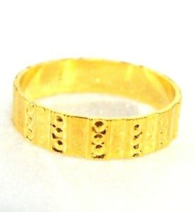 24K Yellow Gold Plated 4mm Engagement Band Ring 4mm Size 8 P UK Seller