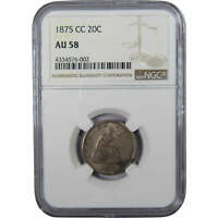 1875 CC Seated Liberty Twenty Cent Piece AU 58 NGC 90% Silver 20c US Type Coin