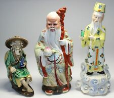 2 CHINESE PORCELAIN IMMORTAL/SCHOLAR FIGURINES & MUD MAN HOLDING FISH
