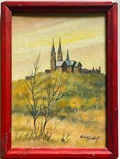 Vintage Original Audrey Kirchhoff Signed Monastrey Oil Painting Wisconsin Artist