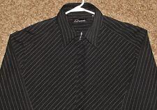 SEVEN 7 DIAMONDS MENS XL X-LARGE BLACK STRIPED LONG SLEEVE BUTTON FT DRESS SHIRT