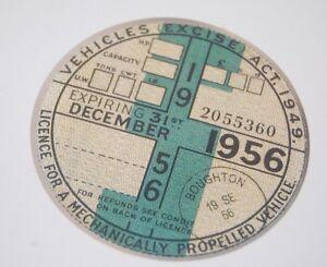 Tax Disc Replica / Reproduction Road December 1956 Vintage Car Tax Classic Cars