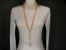 "Orange Silver tone faux pearl bead rosary cross 30"" long necklace 1.5"" pendant"