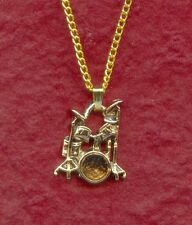 Drum Set Necklace New charm Pendant and 18 inch chain Gold Plated