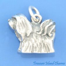 Lhasa Apso Dog Breed 3D 925 Solid Sterling Silver Charm 5 grams Made In Usa