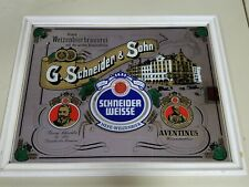 """SCHNEIDER WEISSE G. Schneider & Sohn Bar Mirror Beer 20""""x26"""" Frame Man Cave"""