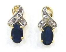 ELEGANT 9KT YELLOW GOLD SAPPHIRE & DIAMOND STUD EARRINGS   E823